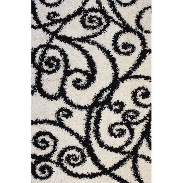 Shag Plush Area Rug Swirls Scrolls Black 3'3 x 5'3
