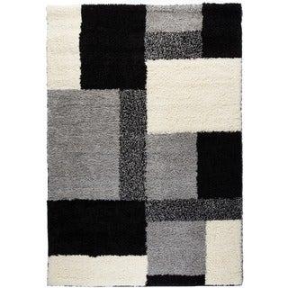 Shag Plush Area Rug Geometric Black 5' x 7'2