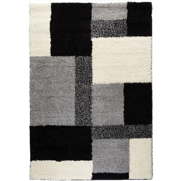 Shag Plush Area Rug Geometric Black 5' x 7'2