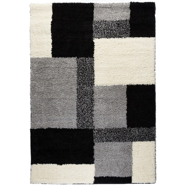 Contemporary Plush Color Block Boxes Black Area Shag Rug (3'3 x 5'3)