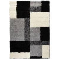 Well Woven Contemporary Plush Color Block Boxes Black Area Shag Area Rug - 3'3 x 5'3