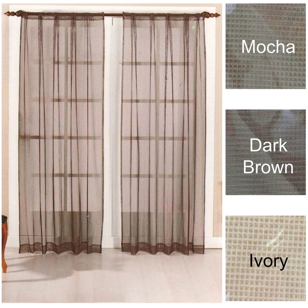 Mesh Curtain Panels : Brielle home mesh rod pocket sheer curtain panel pair