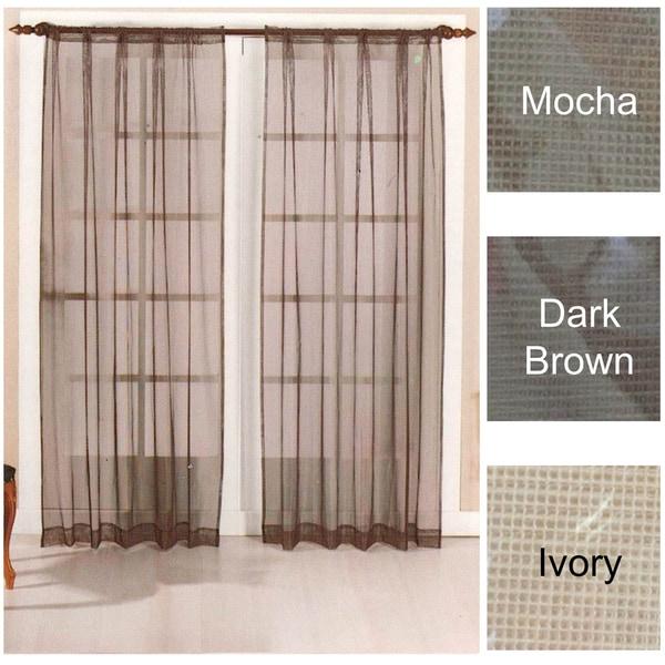 Brielle Home Mesh Rod Pocket Sheer Curtain Panel Pair