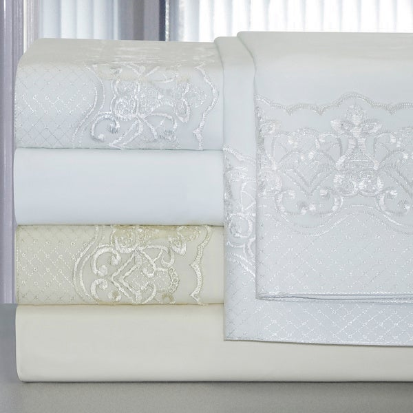 Pointehaven Cotton Lace Deep Pocket Sheet Set