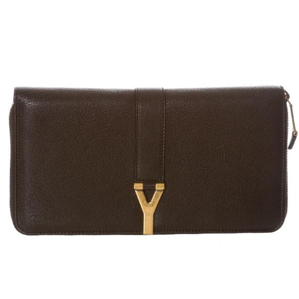 Yves Saint Laurent 'ChYc' Large Black Leather Wallet