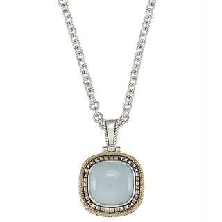 MARC 14k Yellow Gold Flashing over Silver Blue Chalcedony and Marcasite Pendant