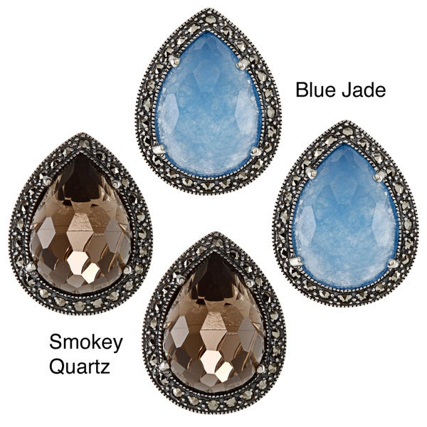 Sterling Silver Blue Jade or Smokey Quartz and Marcasite Earrings