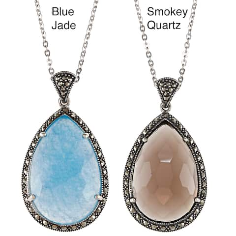 """MARC Sterling Silver Pear-shaped Gemstone & Marcasite Pendant 18"""""""