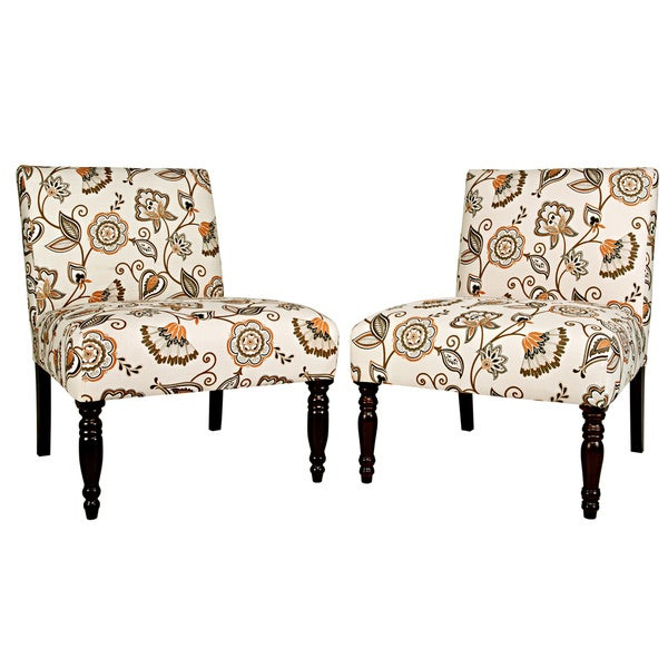Handy Living Bradstreet Vintage Autumn Cream Floral Chairs (Set of 2)