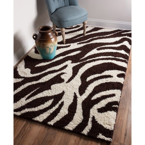 "Well Woven Shag Plush Zebra Brown Area Rug - 6'7"" x 9'10"""