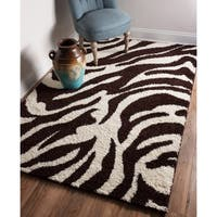 Shag Plush Brown and Ivory Zebra Print Area Rug - 5' x 7'2