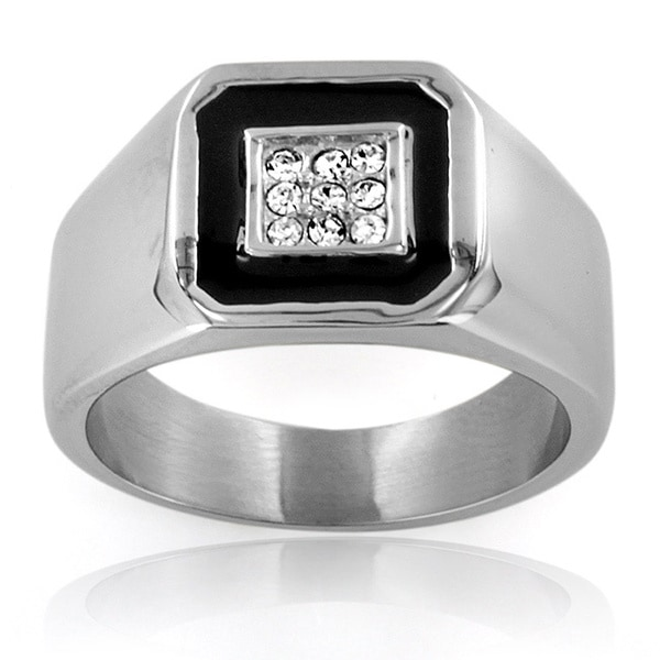 Stainless Steel Men's Cubic Zirconia and Black Enamel Inlay Ring