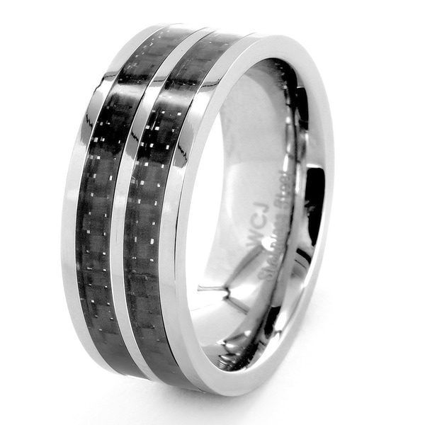 Crucible Stainless Steel Black Striped Carbon Fiber Inlay Ring