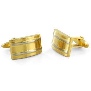 Crucible Stainless Steel Striped Rectangular Cuff Links