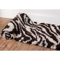 """Well Woven Shag Plush Zebra Brown Runner Rug - 2'3"""" x 7'3"""""""