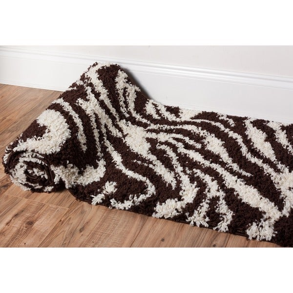 Shop Well Woven Shag Plush Zebra Brown Runner Rug