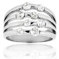 Stainless Steel Cubic Zirconia Split Band Ring - Silver