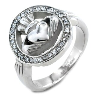 ELYA Polished Stainless Steel Cubic Zirconia Claddagh Ring - Silver