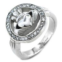 ELYA Polished Stainless Steel Cubic Zirconia Claddagh Ring