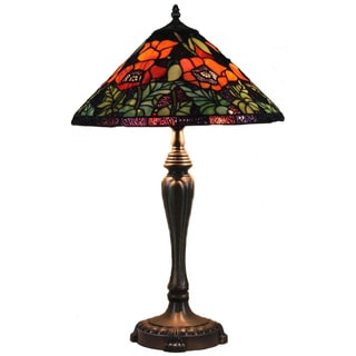 Poppies Handcrafted Stained Glass Tiffany Style Table Lamp
