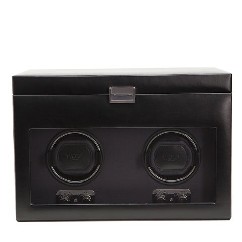 WOLF Heritage Black Faux Leather Module 2.1 Double Watch Winder