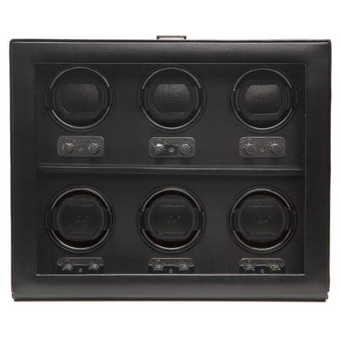 WOLF Heritage Black Faux Leather 6-piece Watch Winder