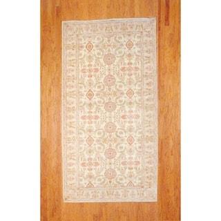 Herat Oriental Afghan Hand-knotted Ivory/ Beige Vegetable Dye Wool Runner Rug (5' x 9'9)