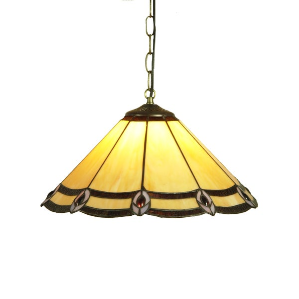 Precious Handcrafted Stained Glass Tiffany Style Hanging Lamp