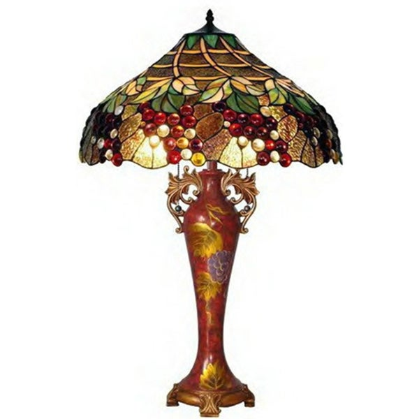 Grapes Handcrafted Stained Glass Tiffany Style Table Lamp - Free ...