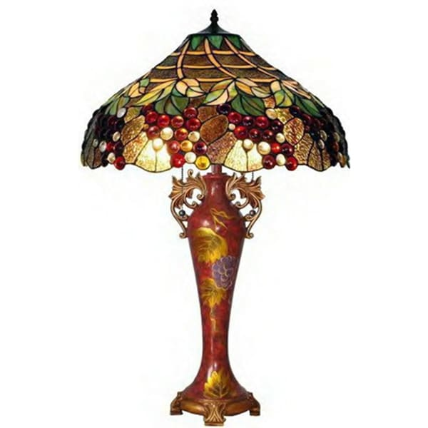 Grapes Handcrafted Stained Glass Tiffany Style Table Lamp