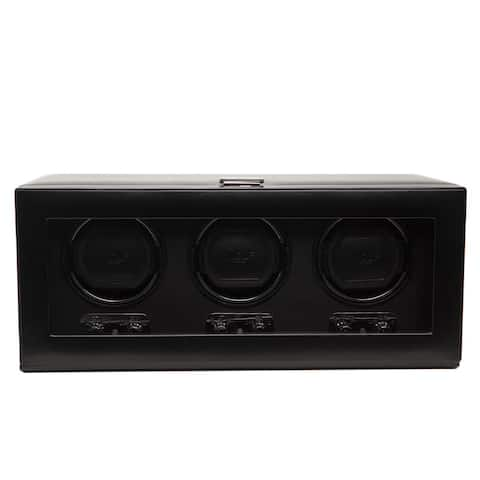 WOLF Heritage Black Faux Leather Triple Watch Winder