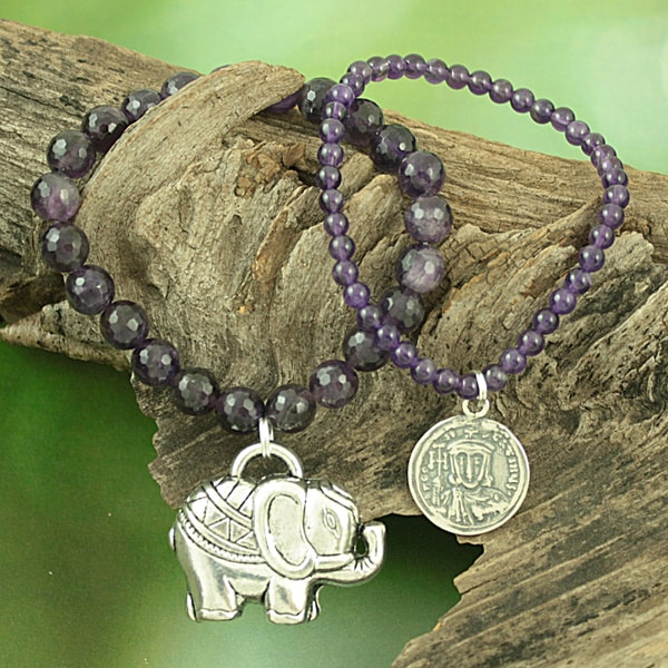 Handcrafted Faceted Amethyst Antique Coin and Elephant Charm Stretch Bracelet (USA)