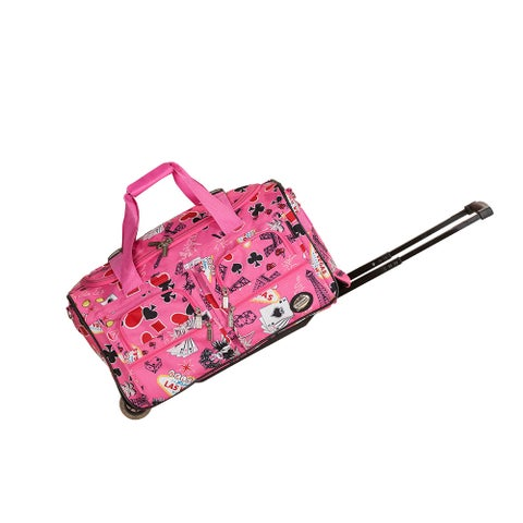 Rockland Deluxe 22-inch Pink Las Vegas Carry-On Rolling Duffle Bag