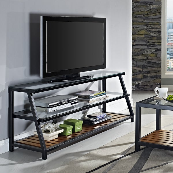 Antiqued Wood Accents 60-inch TV Stand