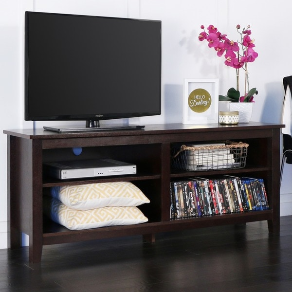 58 inch Espresso Wood TV Stand - Free Shipping Today ...