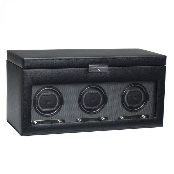 WOLF Viceroy Black Faux Leather Module 2.7 Triple Watch Winder