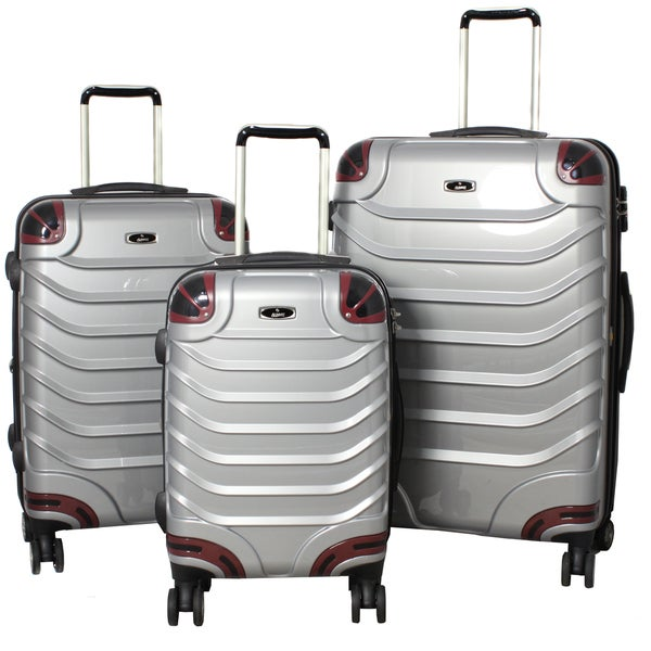 Innovator 3-piece Lightweight Hardside Grey Spinner Luggage Set with TSA Lock
