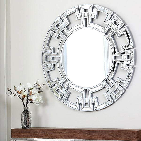 abbyson living pierre silver round wall mirror free shipping today 14785364. Black Bedroom Furniture Sets. Home Design Ideas