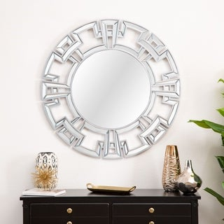 Abbyson Pierre Silvertone Wood/Glass Modern Round Wall Mirror