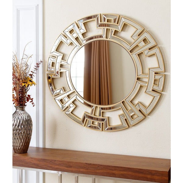 Abbyson Living Pierre Gold Round Wall Mirror 14785365