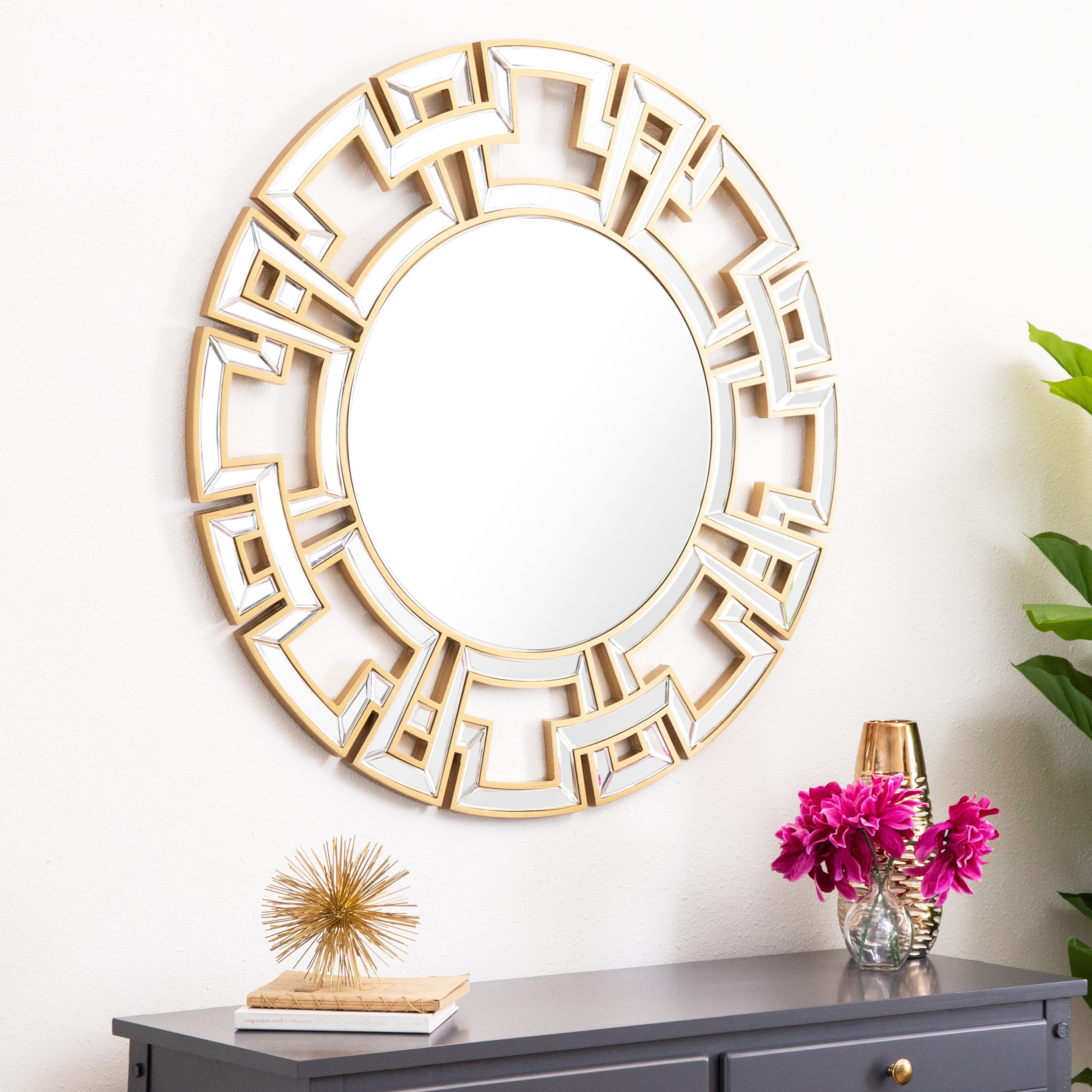 Shop Abbyson Pierre Gold Round Wall Mirror On Sale Overstock 7315968