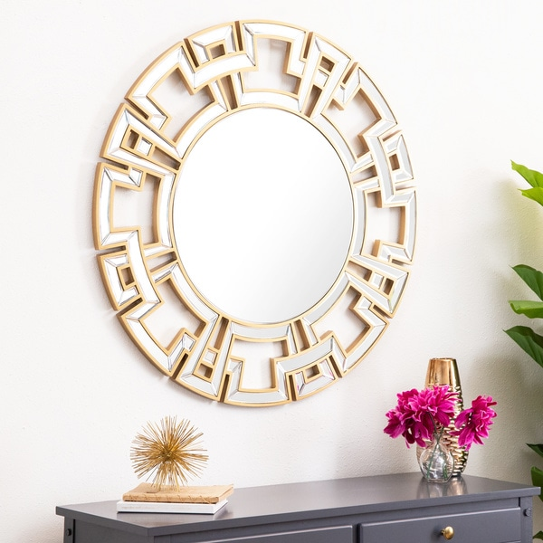 Shop Abbyson Pierre Gold Round Wall Mirror On Sale