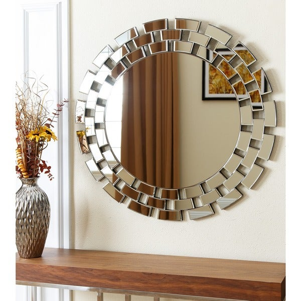 shop abbyson devon round wall mirror silver on sale free shipping today. Black Bedroom Furniture Sets. Home Design Ideas