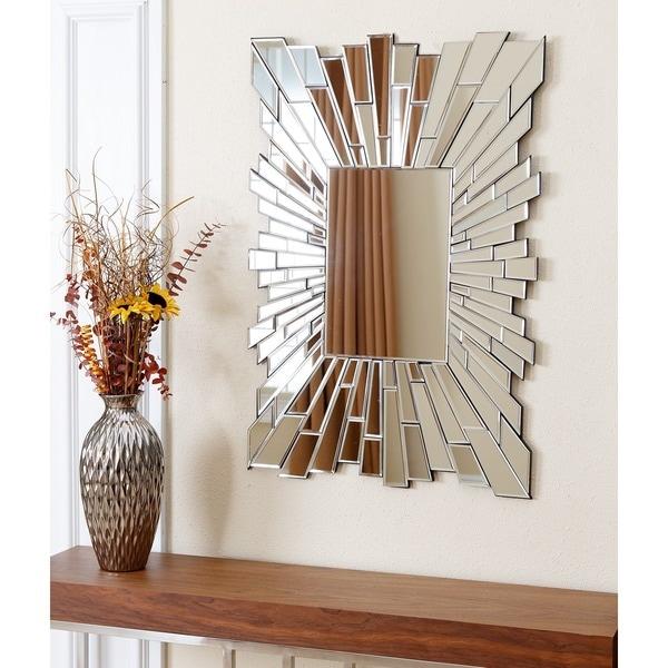 Abbyson Empire Silver Wood Frame Rectangle Wall Mirror