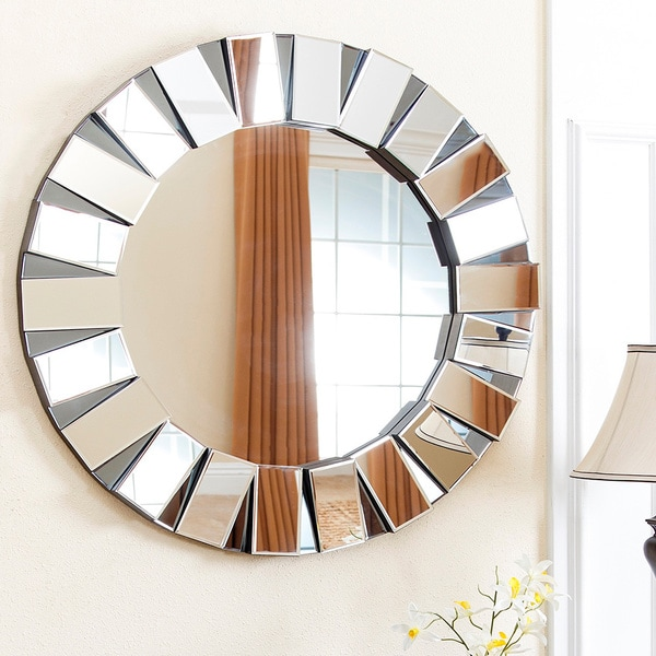 shop abbyson portico round wall mirror silver free shipping today 7315973. Black Bedroom Furniture Sets. Home Design Ideas