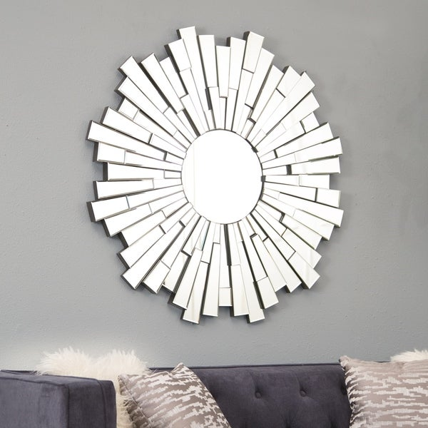 Empire Burst Round Wall Mirror - Silver By Abbyson