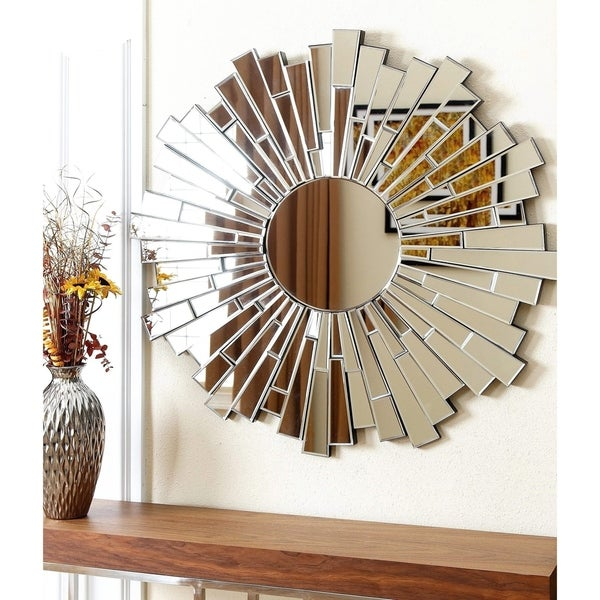 Abbyson Empire Burst Round Wall Mirror - Silver