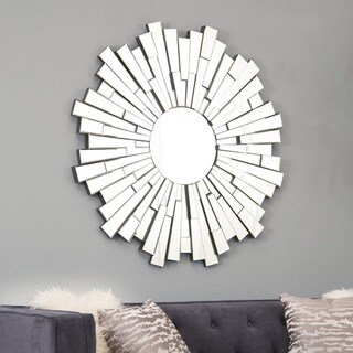 Abbyson Empire Burst Silvertone Wood/Glass Round Wall Mirror