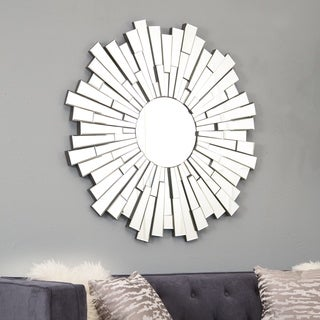 Abbyson Empire Burst Round Wall Mirror   Silver