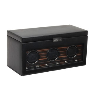 WOLF Roadster Black Faux Leather 2.7 Triple Watch Winder Module